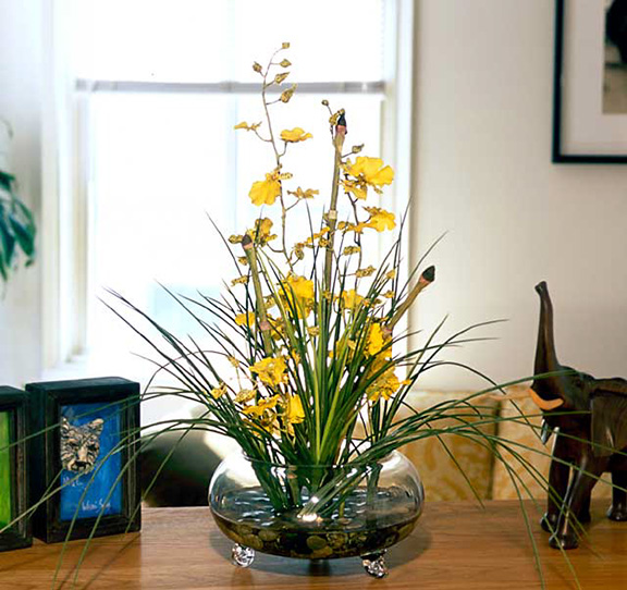 Oncidium Silk Orchid Arrangement - Yellow
