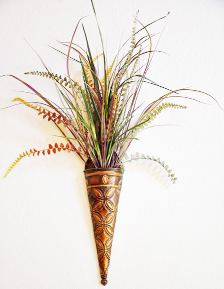Wall Vase with Grasses