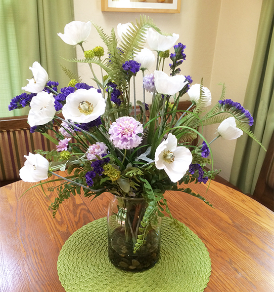 Silk plant design center white poppies with purple statice mightylinksfo