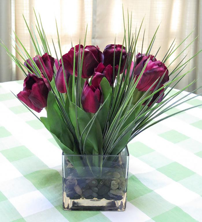 Tulips in Large Cube Burgundy