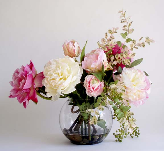 Mixed Peonies In Large Bubble Bowl