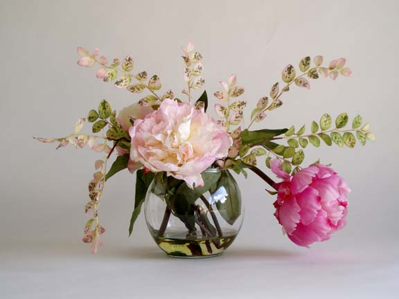 Mixed Peonies In Bowl