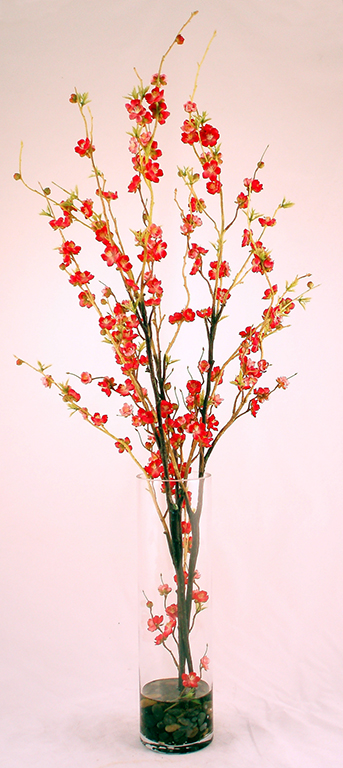 Cherry Blossom Fuschia in Tall Vase