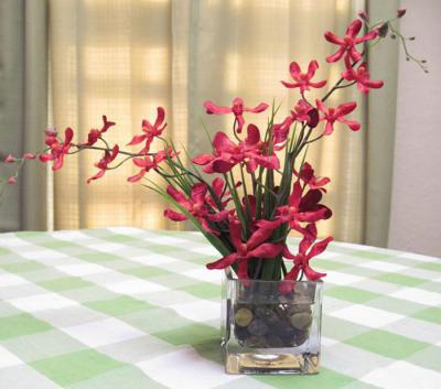 Red Flame Dendrobium Silk Orchid