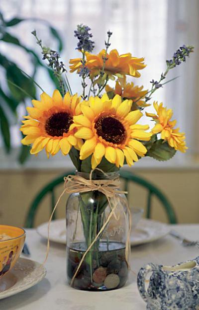 Sunflower In Jar