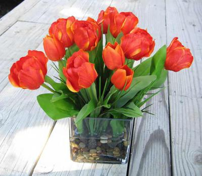 Tulips In Large Cube Orange