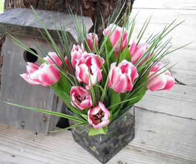 Tulips In Large Cube Pink