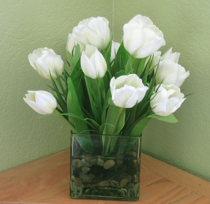 Tulips In Large Cube White