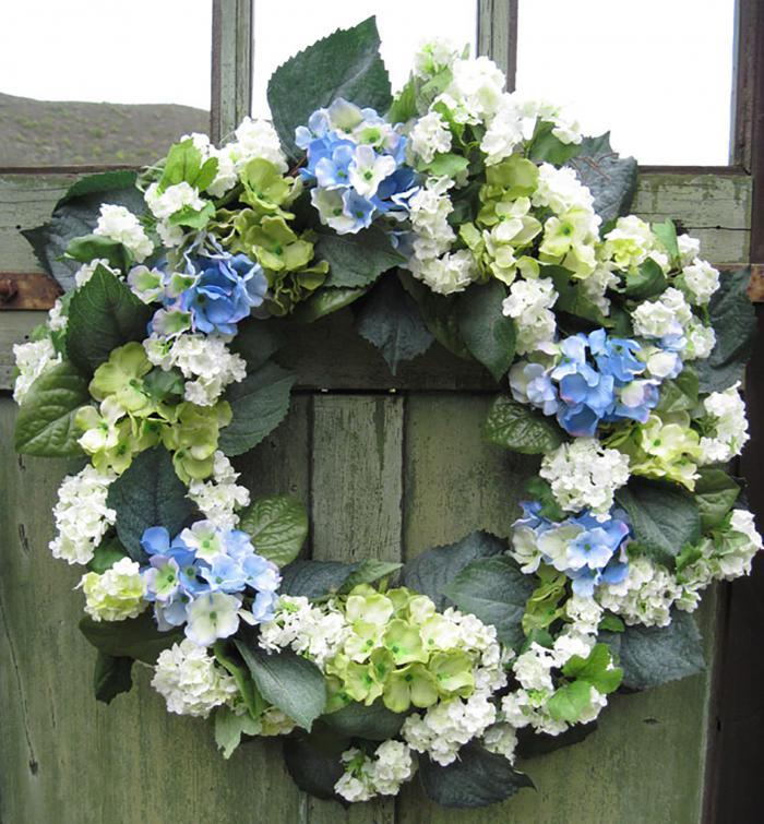 Hydrangea & Snowball Wreath